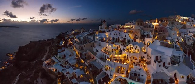 Santorini with electricity