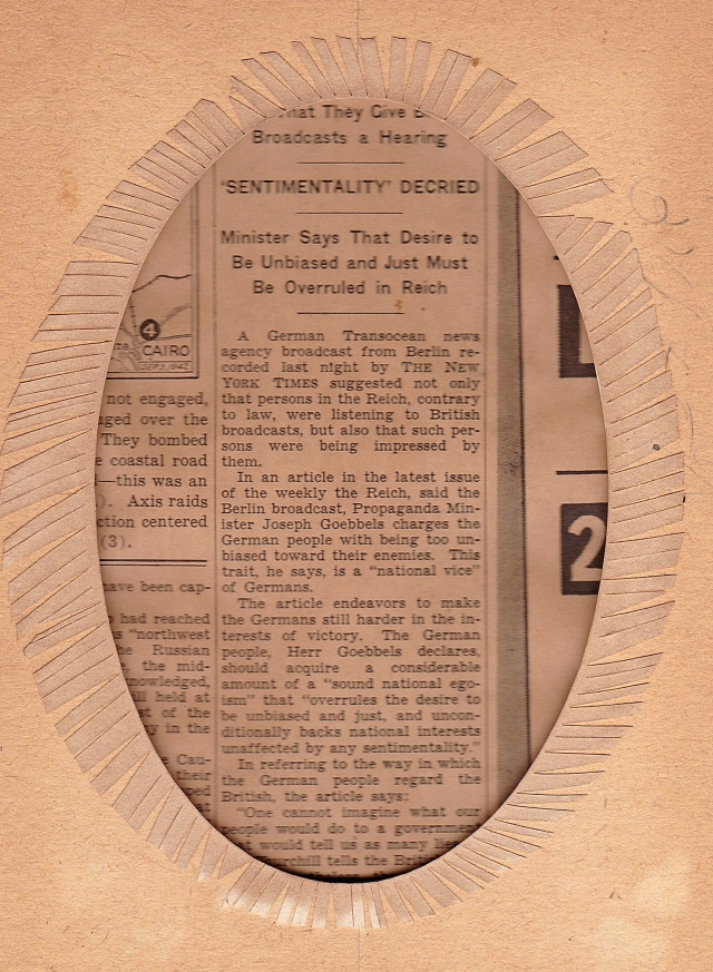 Back of WWII Newspaper
