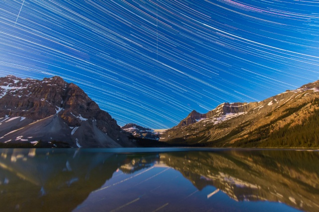 Star Trails over Bow Lake, July 6, 2012