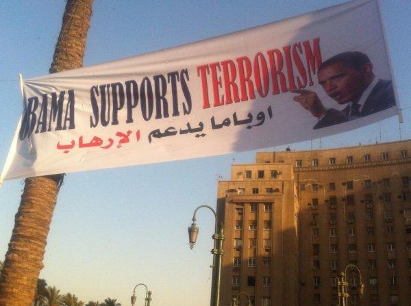 Obama supports terrorism poster egypt